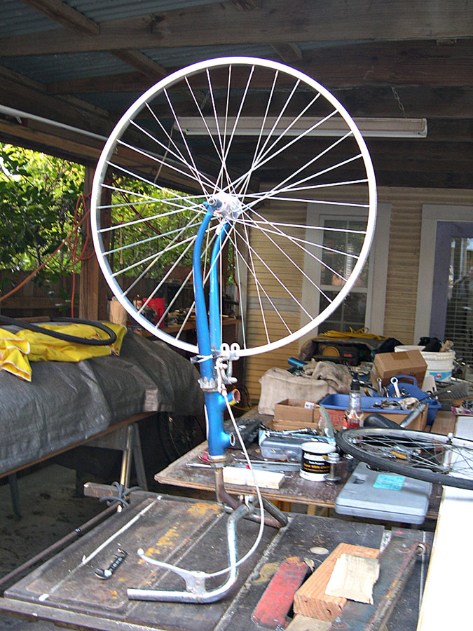 Diy bicycle wheel truing stand for pinterest